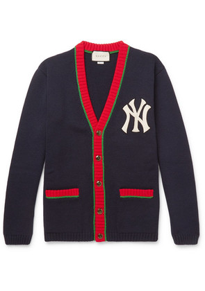 Gucci - + New York Yankees Appliquéd Wool Cardigan - Navy