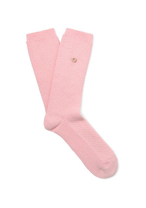 Folk - Leather-trimmed Waffle-knit Stretch Cotton-blend Socks - Pink
