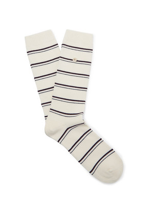 Folk - Striped Stretch Cotton-blend Socks - Ecru