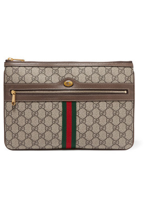 Gucci - Ophidia Medium Textured Leather-trimmed Printed Coated-canvas Pouch - Brown