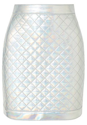 Balmain - Iridescent Quilted Faux Leather Mini Skirt - Silver