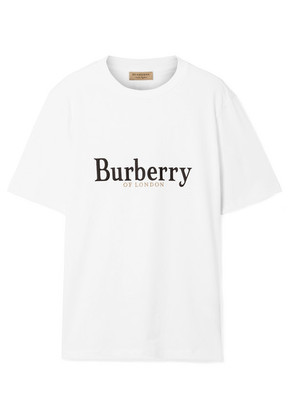 Burberry - Embroidered Cotton-jersey T-shirt - White