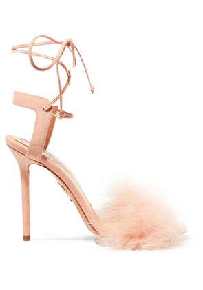 Charlotte Olympia - Salsa Feather-trimmed Suede Sandals - Baby pink
