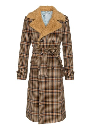 Gucci Checked Double-Breasted coat - Brown