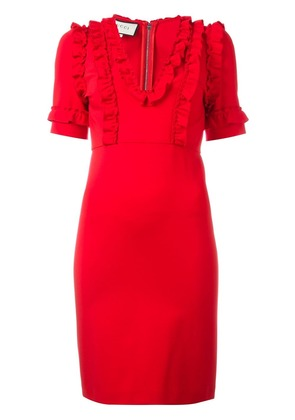 Gucci ruffle trim dress - Red