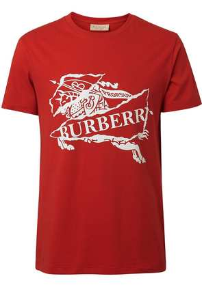Burberry Collage Logo Print Cotton T-shirt - Red