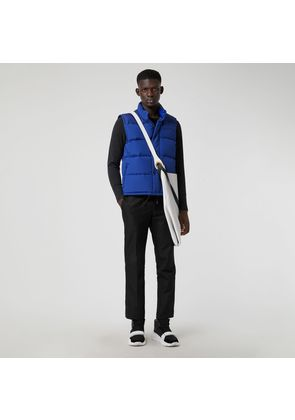 Burberry Embroidered Archive Logo Down-filled Gilet, Blue