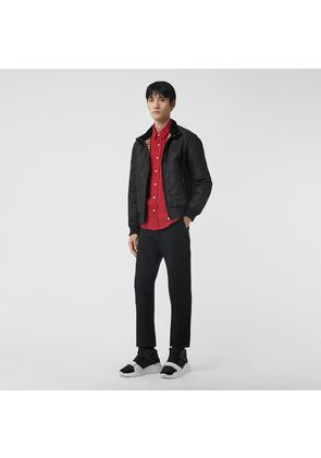 Burberry Diamond Quilted Thermoregulated Harrington Jacket, Black