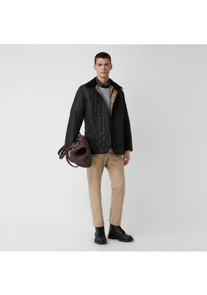 Burberry Diamond Quilted Thermoregulated Barn Jacket, Black