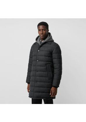 Burberry Wool Flannel Down-filled Car Coat, Grey