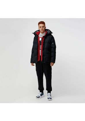 Burberry Check Wool Down-filled Hooded Jacket, Blue