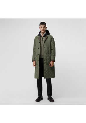 Burberry Reversible Diamond Quilted and Cotton Car Coat, Green