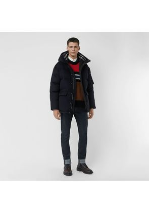 Burberry Cashmere Down-filled Hooded Jacket, Blue