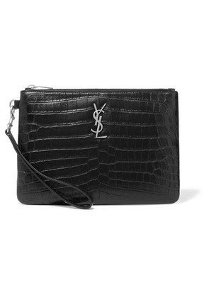 Saint Laurent - Monogramme Croc-effect Leather Pouch - Black
