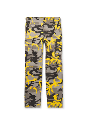 Balenciaga - Slim-fit Camouflage-print Cotton-twill Cargo Trousers - Yellow