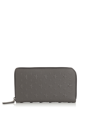 CARNABY Dark Grey Embossed Stars on Grainy Leather. Travel Wallet