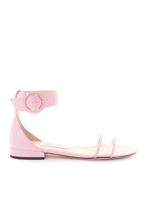 JAIMIE FLAT Rosewater Nappa Leather and Clear Plexi Sandal with Round Buckle Fastening