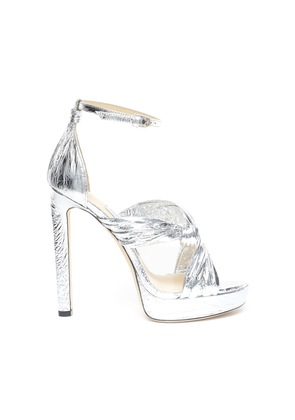 ABRIL 130 Silver Metallic Foil Platform Sandals with Intertwined Ruched Leather Straps