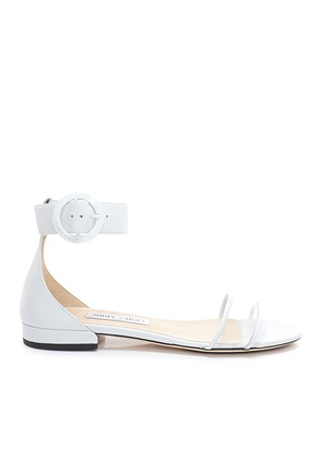 JAIMIE FLAT White Nappa Leather and Clear Plexi Sandal with Round Buckle Fastening