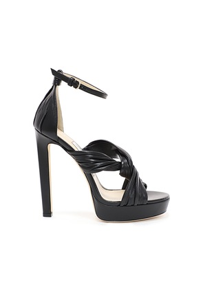 ABRIL 130 Black Nappa Platform Sandals with Intertwined Ruched Leather Straps