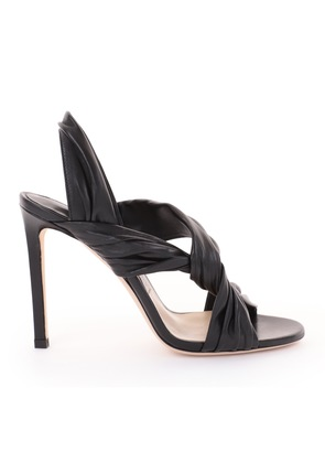 LALIA 100 Black Nappa Leather Heels with Intertwined Upper