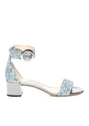 JAIMIE 40 Denim Mix Coarse Glitter Fabric Sandal with Round Buckle Fastening