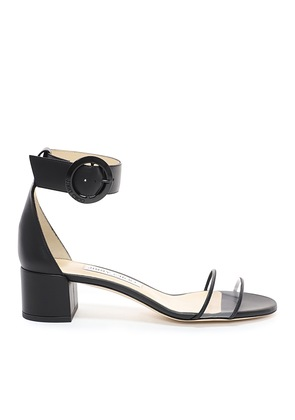 JAIMIE 40 Black Nappa Leather and Clear Plexi Sandal with Round Buckle Fastening