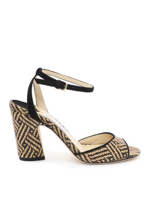 MIRANDA 85 Natural and Black Woven Braided Raffia and Suede Block Heel Sandals
