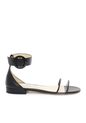 JAIMIE FLAT Black Nappa Leather and Clear Plexi Sandal with Round Buckle Fastening