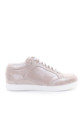 MIAMI Natural and Silver Metallic Linen Sneakers