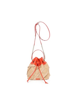 JUNO/S Natural and Chilli Fringed Fine Woven Raffia and Printed Ayers Drawstring Bag