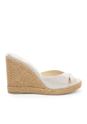 ALMER 105 Natural and Silver Metallic Linen Wedges with Braid Trim
