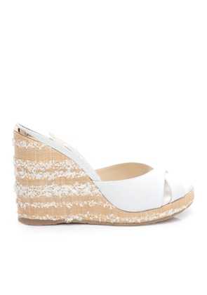 ALMER 105 White Canvas Wedges with Fringed Raffia