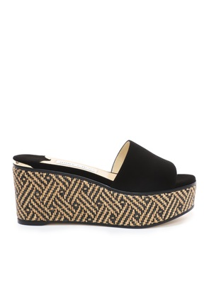 DEEDEE 80 Natural and Black Suede Wedges with Woven Braided Raffia