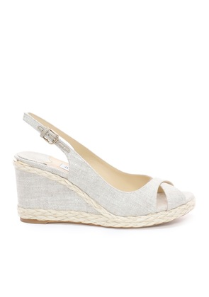 AMELY 80 Natural Linen Wedges with Braid Trim