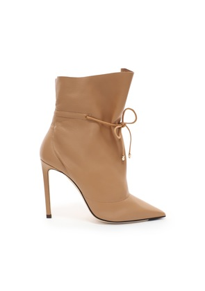 STITCH 100 Caramel Nappa Leather Bootie with Drawstring Ankle Detailing