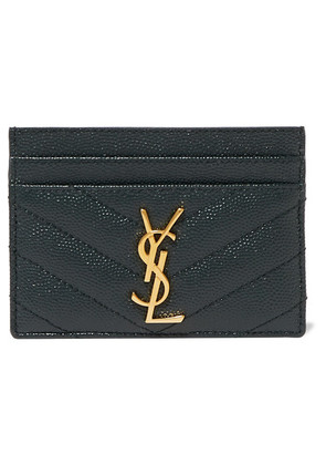 Saint Laurent - Quilted Textured-leather Cardholder - Dark green