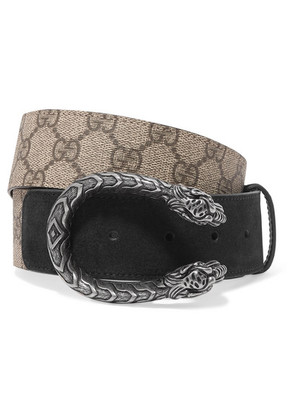 Gucci - Dionysus Printed Coated-canvas And Suede Belt - Beige