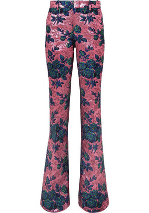 Gucci - Floral Brocade Flared Pants - Pink