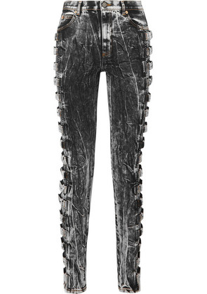 Gucci - Buckled High-rise Skinny Jeans - Anthracite