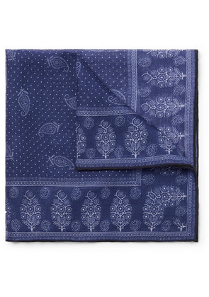 Drake's - Printed Cotton, Modal And Cashmere-blend Pocket Square - Navy
