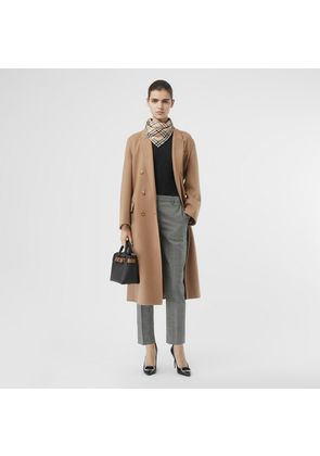 Burberry Houndstooth Check Wool Cropped Tailored Trousers, Black