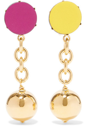 Marni - Orbit Gold-tone Leather Clip Earrings - one size
