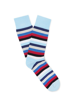 Corgi - Striped Cotton-blend Socks - Sky blue