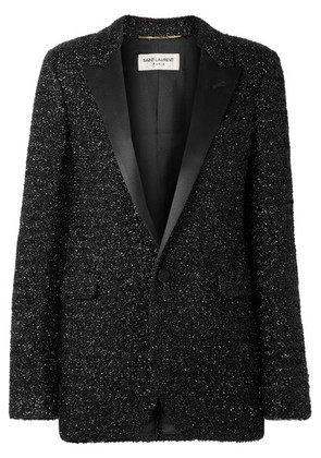 Saint Laurent - Satin-trimmed Lurex Blazer - Black