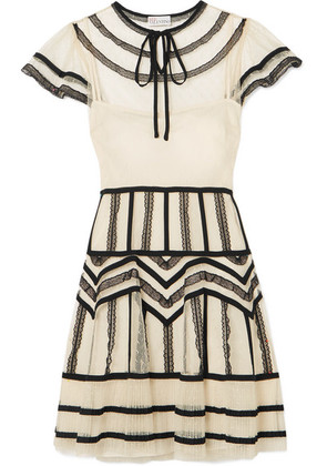 REDValentino - Lace-trimmed Pleated Point D'esprit Tulle Dress - Cream