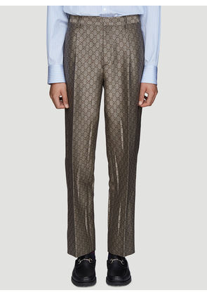 Gucci GG Jacquard Print Tailored Pants in Brown size IT - 46