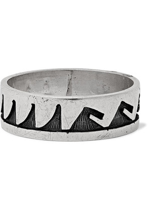 Foundwell - 1990s Engraved Silver Ring - Silver