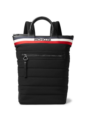 Moncler - Cerro Convertible Webbing And Leather-trimmed Quilted Shell Tote Bag - Black