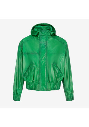 Bally Naplak Hooded Bomber Jacket Green, Men's naplak leather jacket in emerald